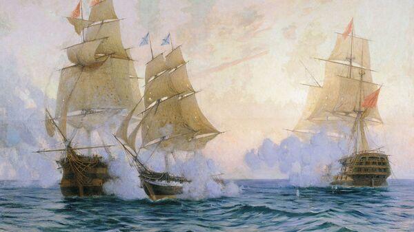 Картина Михаила Ткаченко Бой брига Меркурий с турецкими кораблями. 1907 год