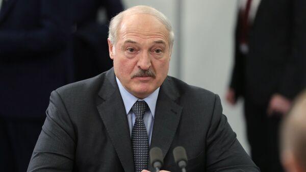 Президент Белоруссии Александр Лукашенко во время встречи с президентом РФ Владимиром Путиным. 13 февраля 2019