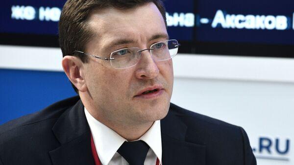 Губернатор Нижегородской области Глеб Никитин на стенде МИА Россия сегодня на Российском инвестиционном форуме в Сочи