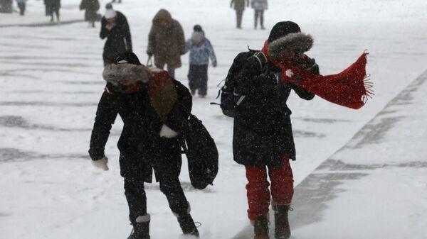 Прохожие на улице во время снегопада