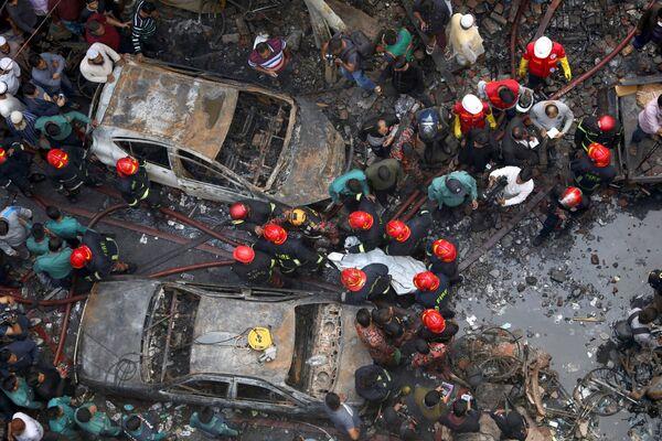 Последствия пожара в Дакке, Бангладеш. 21 февраля 2019