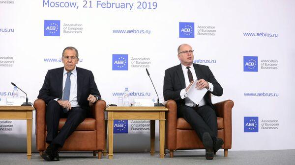 Министр иностранных дел РФ Сергей Лавров во время брифинга для представителей Ассоциации европейского бизнеса в России. 21 февраля 2019