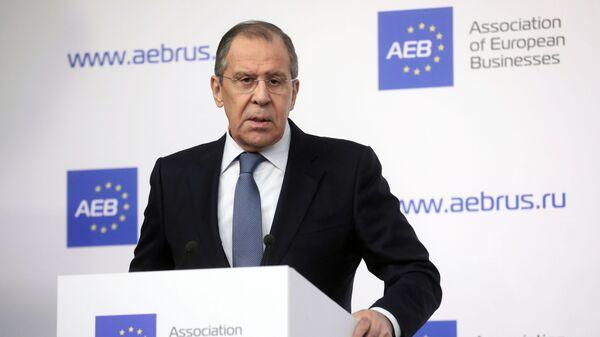 Министр иностранных дел Сергей Лавров во время брифинга для представителей Ассоциации европейского бизнеса в России. 21 февраля 2019