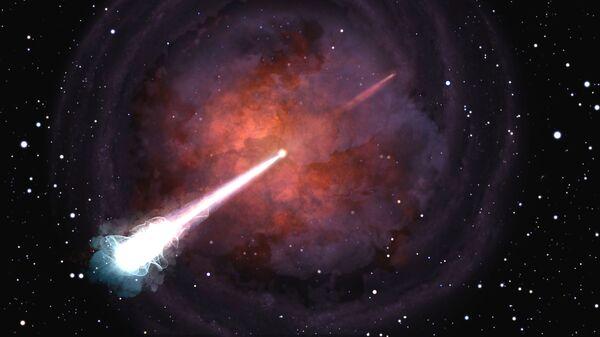 Так художник представил себе плевок слившихся нейтронных звезд