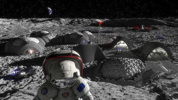 Лунная база и астронавт в представлении художника