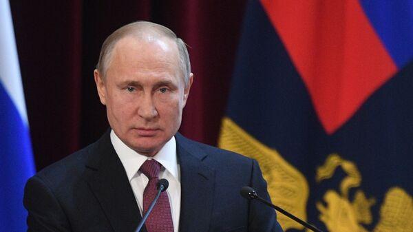 Владимир Путин выступает на ежегодном расширенном заседании коллегии министерства внутренних дел РФ. 28 февраля 2019