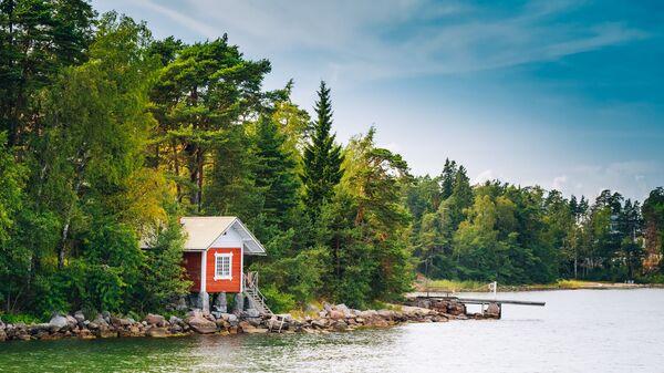 Финская деревянная бревенчатая баня