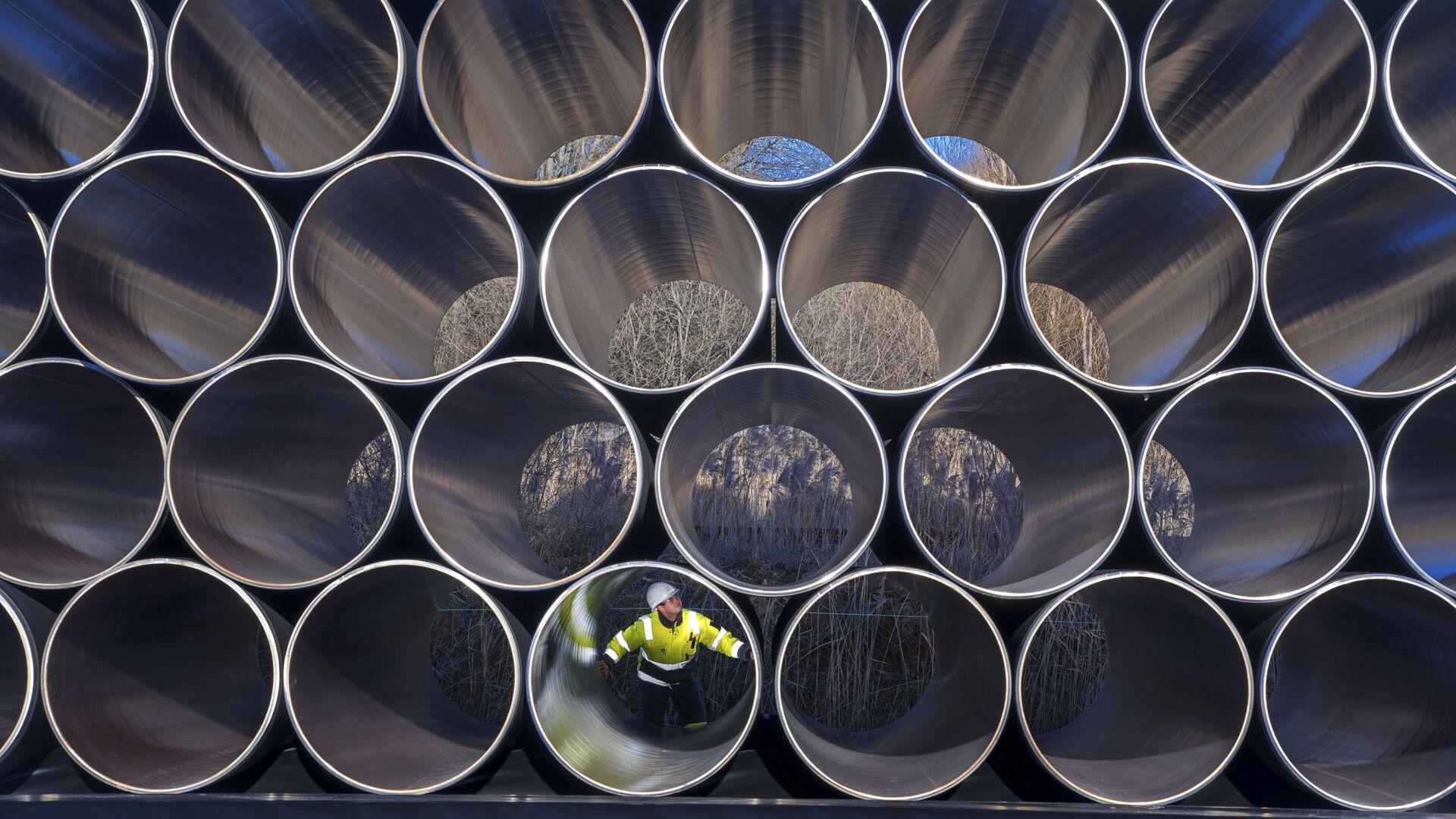 Трубы для строительства газопровода Nord Stream 2 в немецком Заснице - РИА Новости, 1920, 17.02.2021