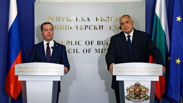 Председатель правительства РФ Дмитрий Медведев и премьер-министр Болгарии Бойко Борисов во время совместного заявления для прессы в Софии