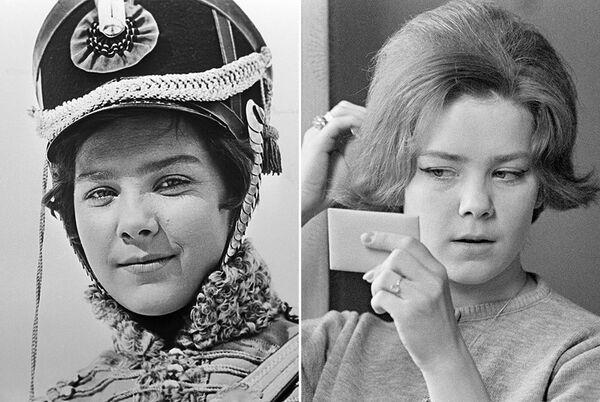 Лариса Голубкина в фильме Гусарская баллада (1962) и в жизни