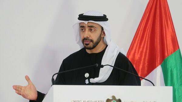Министр иностранных дел ОАЭ Абдалла бен Заид Аль Нахайян на совместной пресс-конференции с министром иностранных дел РФ Сергеем Лавровым по итогам встречи