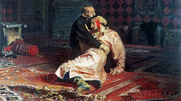 Репродукция картины Ильи Репина Иван Грозный и его сын Иван 16 ноября 1581 года
