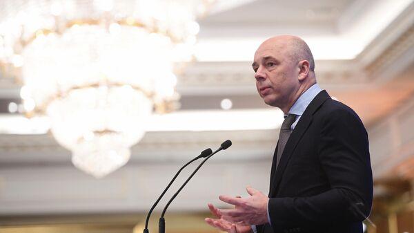 Министр финансов РФ Антон Силуанов выступает на пленарном заседании съезда РСПП в рамках Недели российского бизнеса. 14 марта 2019