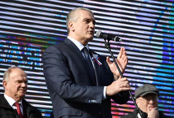 Глава Республики Крым Сергей Аксенов во время мероприятий, посвященных 5-й годовщине Общекрымского референдума 2014 года и воссоединения Крыма с Россией