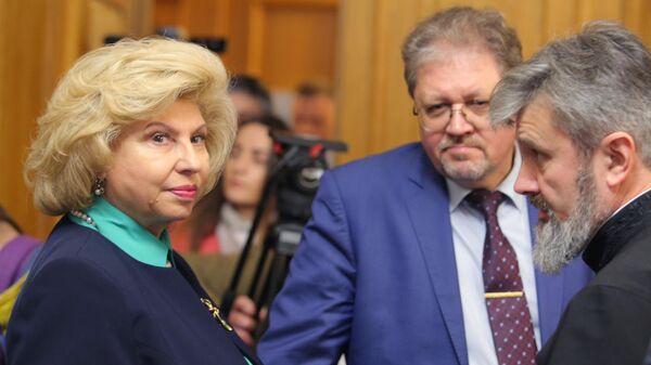 Уполномоченный по правам человека в РФ Татьяна Москалькова на заседании  Верховного суда Украины, где рассматривается  жалоба Кирилла Вышинского на его арест. 20 марта 2019