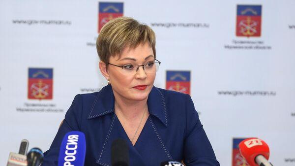 Бывший губернатор Мурманской области Марина Ковтун во время своей итоговой пресс-конференции. 21 марта 2019