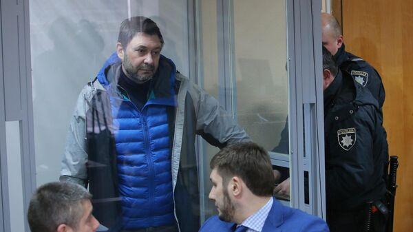 Руководитель портала РИА Новости Украина Кирилл Вышинский в Подольском районном суде Киева. 26 марта 2019