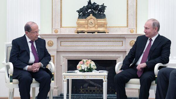 Президент РФ Владимир Путин и президент Ливана Мишель Аун во время встречи