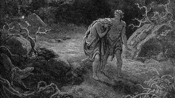Гравюра Гюстава Доре Изгнание Адама и Евы из Рая