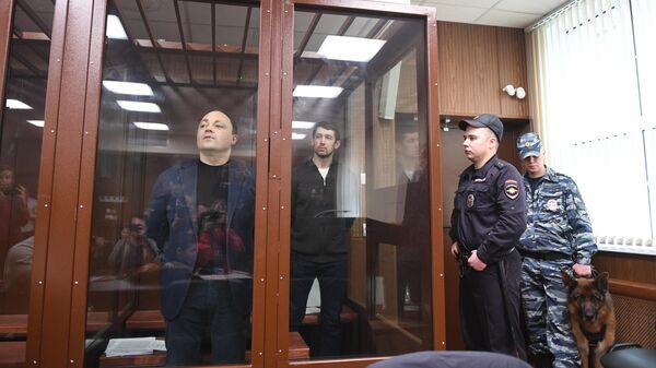 Бывший мэр Владивостока Игорь Пушкарев, обвиняемый во взяточничестве, во время заседания в Тверском суде Москвы