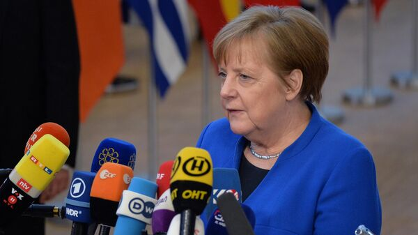 Федеральный канцлер Германии Ангела Меркель на экстренном саммите ЕС по Brexit в Брюсселе