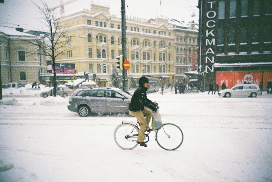 Велосипедист в Хельсинки