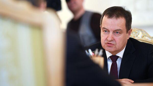 Министр иностранных дел Республики Сербии Ивиц Дачич во время встречи с министром иностранных дел РФ Сергей Лавров в Москве. 17 апреля 2019
