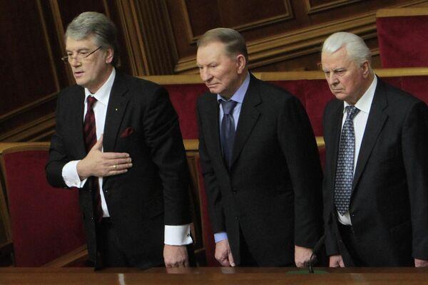 Экс-президенты Виктор Ющенко, Леонид Кучма и Леонид Кравчук на заседании Верховной рады Украины. 2014 год