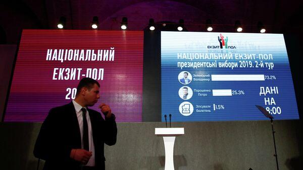 Данные Национального exit poll на экранах в штабе кандидата в президенты Петра Порошенко в Киеве