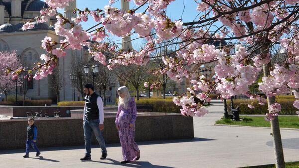 Горожане гуляют в сквере радом с мечетью Сердце Чечни в Грозном