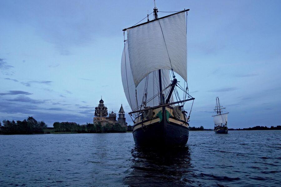 Начало экспедиции на поморских ладьях к Белому морю