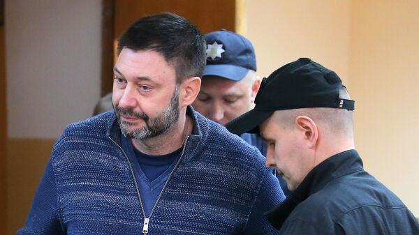 Руководитель портала РИА Новости Украина Кирилл Вышинский на заседании Подольского районного суда Киева
