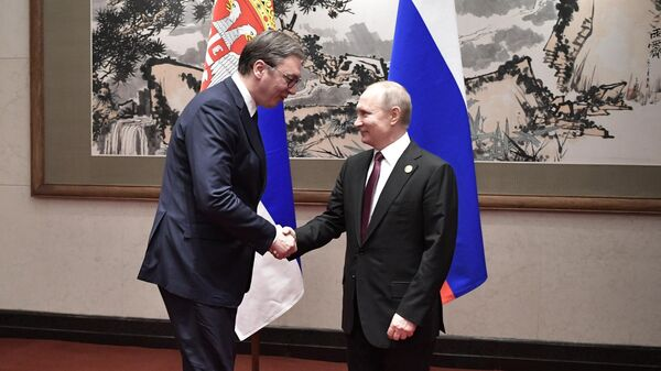 Президент РФ Владимир Путин и президент Республики Сербии Александр Вучич на полях форума Один пояс - один путь в Пекине. 26 апреля 2019