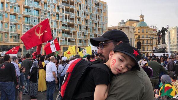 Участники первомайской демонстрации в Бейруте, Ливан