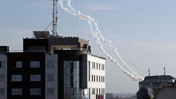 Запуск ракет из сектора Газа в сторону Израиля. 4 мая 2019