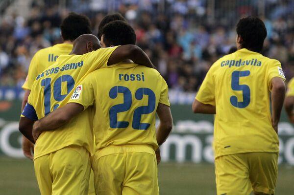 Футболисты Вильярреала во время матча с Малагой
