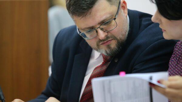 Адвокат Андрей Доманский на заседании Печерского суда Киева. 8 мая 2019