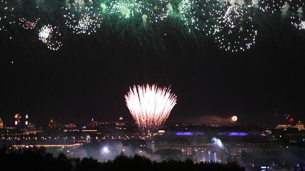 Праздничный салют в честь Дня Победы в Москве на Воробьевых горах