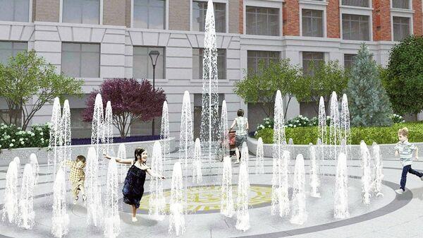 Сухой фонтан во дворе дома класса luxe в Хамовниках Жизнь на Плющихе