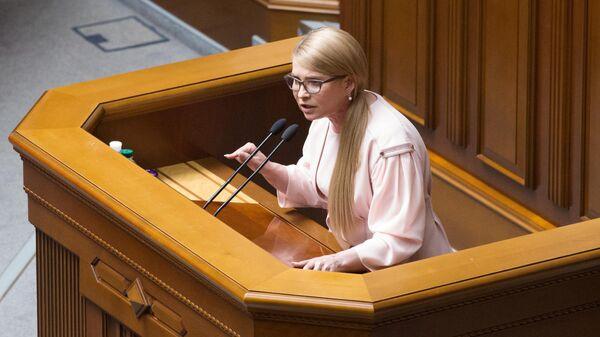 Лидер партии Батькивщина Юлия Тимошенко выступает на заседании Верховной рады Украины. 22 мая 2019