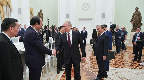 Президент РФ Владимир Путин знакомится с делегацией во время встречи с премьер-министром Вьетнама Нгуеном Суаном Фуком