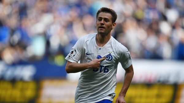 Форвард Динамо Кирилл Панченко радуется забитому мячу