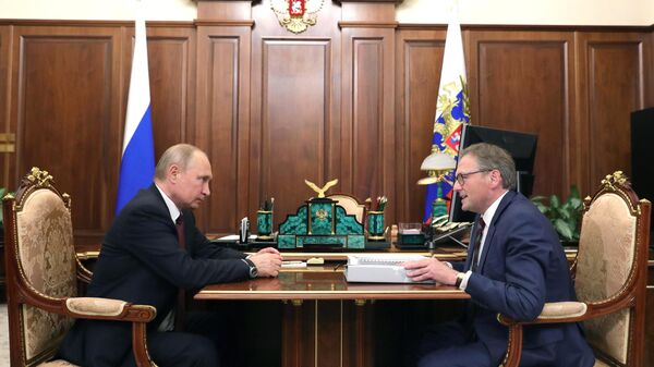 Владимир Путин и уполномоченный при президенте РФ по защите прав предпринимателей Борис Титов во время встречи. 27 мая 2019