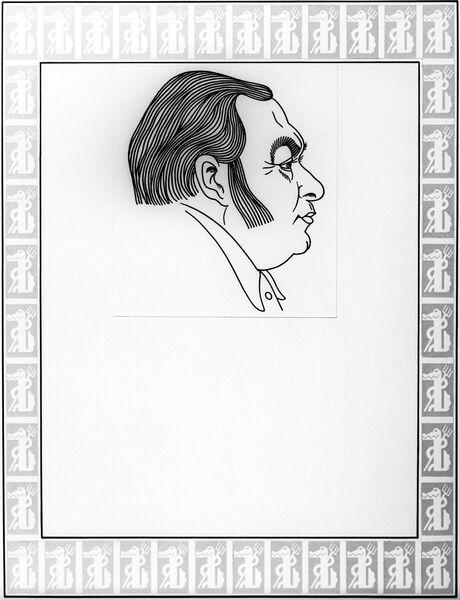 Репродукция дружеского шаржа на главного редактора журнала Крокодил Евгения Дубровина.