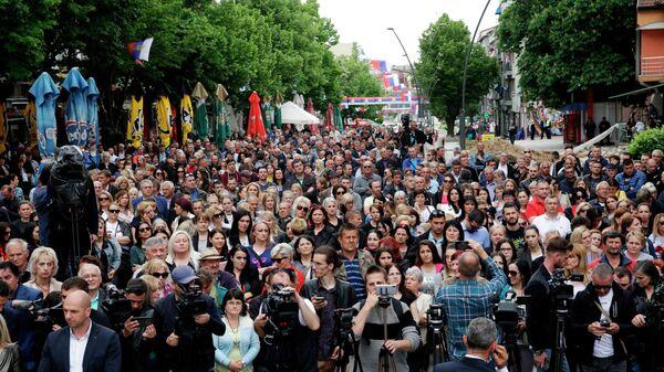 Косовские сербы проводят в городе Косовска-Митровица акцию протеста против действий Приштины в Косово. 29 мая 2019