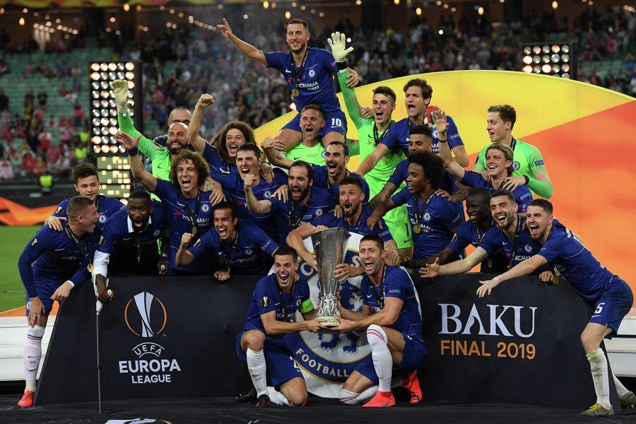 Футболисты Челси после победы в Лиге Европы 2019