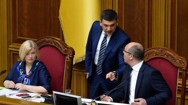 Премьер-министр Украины Владимир Гройсман и председатель Верховной рады Украины Андрей Парубий на заседании Верховной рады Украины. 30 мая 2019
