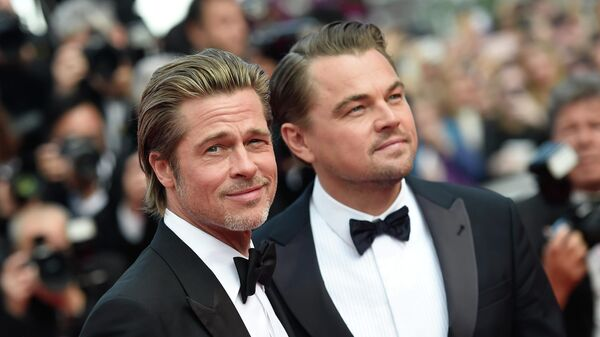 Актеры Брэд Питт и Леонардо ДиКаприо на красной дорожке фильма Однажды... в Голливуде в рамках 72-го Каннского международного кинофестиваля.
