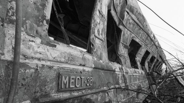 Вагоны, выгоревшие дотла в результате катастрофы на перегоне Уфа-Челябинск Транссибирской магистрали