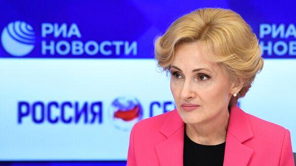 Заместитель председателя Госдумы РФ Ирина Яровая во время пресс-конференции в ММПЦ МИА Россия сегодня. 31 мая 2019
